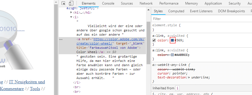 Farbauswahl in Chrome für Kontrastfarbwahl