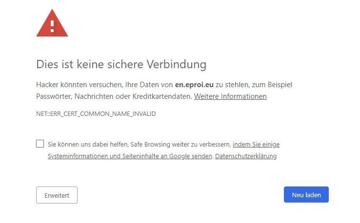 Typisches Bild einer HSTS-Fehlermeldung in Chrome am Beispiel einer eproi-URL